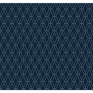 Ashford Geometrics Navy Blue and White Diamond Lattice Wallpaper