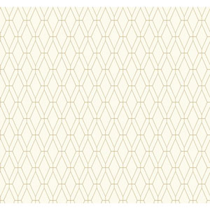 Ashford Geometrics White and Tan Diamond Lattice Wallpaper