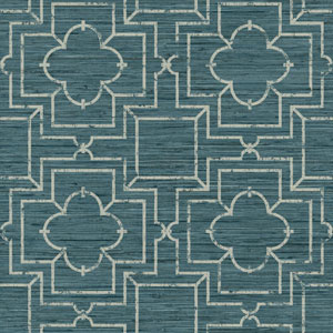 Ashford Geometrics Teal and Light Grey Irongate Trellis Wallpaper