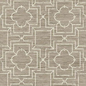 Ashford Geometrics Taupe and Cream Irongate Trellis Wallpaper
