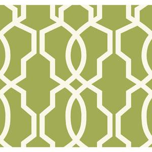 Ashford Geometrics Green and White Hourglass Trellis Wallpaper