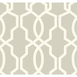 Ashford Geometrics Light Grey and White Hourglass Trellis Wallpaper