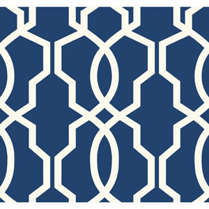 Ashford Geometrics Dark Blue and White Hourglass Trellis Wallpaper