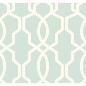 Ashford Geometrics Light Aqua and White Hourglass Trellis Wallpaper