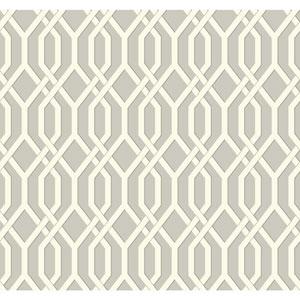 Ashford Geometrics Grey and White Garden Pergola Wallpaper
