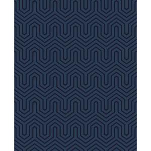 Ashford Geometrics Blue Pearl and Navy Blue Labyrinth Wallpaper