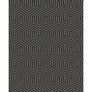 Ashford Geometrics Black Pearl and Black Labyrinth Wallpaper