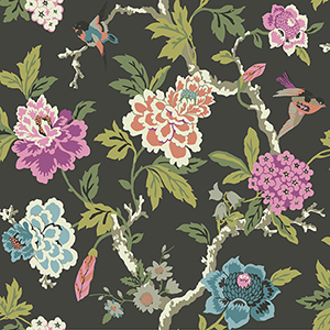 Waverly Garden Party Charcoal Floral Wallpaper