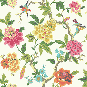 Waverly Garden Party Multicolor Floral Wallpaper