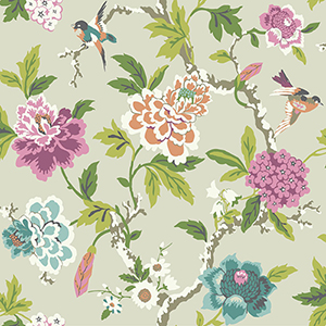 Waverly Garden Party Gray Floral Wallpaper