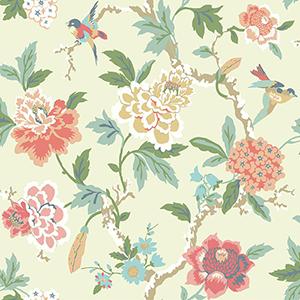 Waverly Garden Party Cream Floral Wallpaper