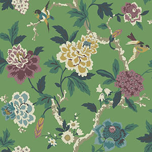 Waverly Garden Party Green Floral Wallpaper
