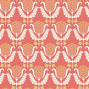 Waverly Garden Party Coral Orange Wallpaper