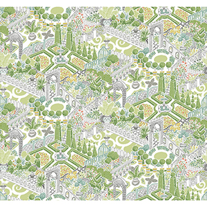 Waverly Garden Party Sherbet Wallpaper