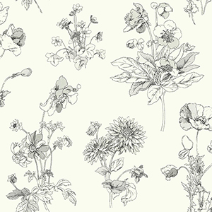 Waverly Garden Party Gray and White Floral Wallpaper