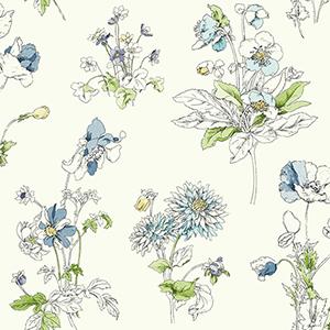 Waverly Garden Party Blue Floral Wallpaper