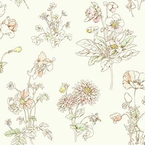 Waverly Garden Party Sherbet Floral Wallpaper