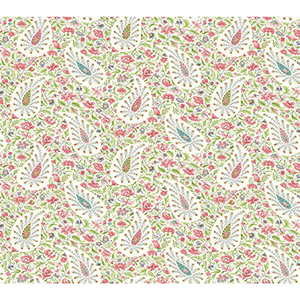 Waverly Garden Party Pink Paisley Wallpaper