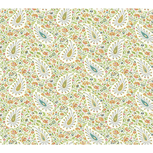 Waverly Garden Party Green Paisley Wallpaper
