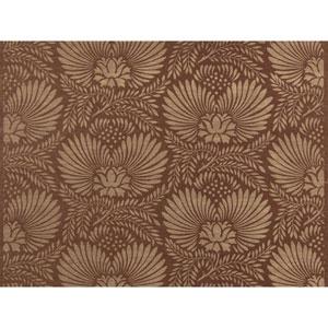 Ronald Redding Designer Resource Tan Grasscloth Dahlia Wallpaper
