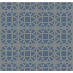Williamsburg III Lamerie Lattice Blue Removable Wallpaper