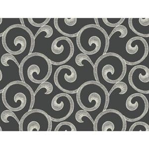 Williamsburg III Hampton Scroll Black Removable Wallpaper
