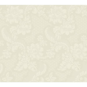 Williamsburg III Tazewell Damask White and Off White Removable Wallpaper