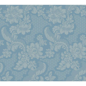 Williamsburg III Tazewell Damask Blue Removable Wallpaper