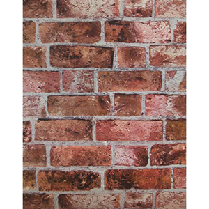 Modern Rustic Brick Red, Cement Gray and Burgundy Wallpaper