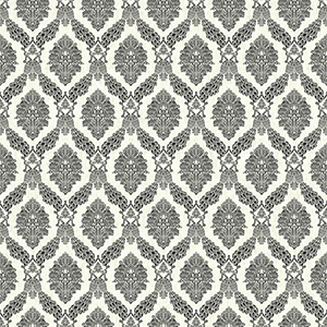 Tailored Black and White Damask Wallpaper