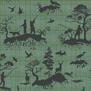 Tailored Green Toile Wallpaper