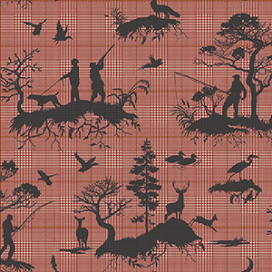 Tailored Red Toile Wallpaper