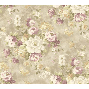 Handpainted III Silver and Purple Painterly Bouquet Wallpaper