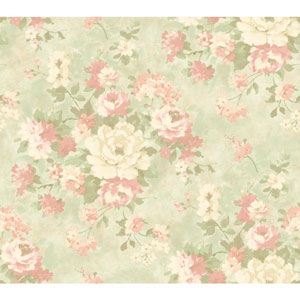 Handpainted III Aqua and Peach Painterly Bouquet Wallpaper
