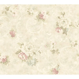 Handpainted III Pearl and Pink Painterly Scroll Wallpaper