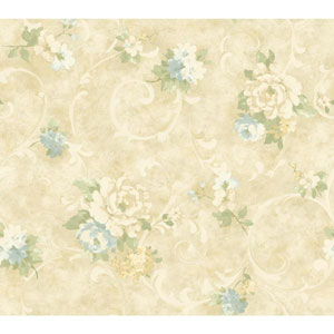 Handpainted III Beige and Blue Painterly Scroll Wallpaper