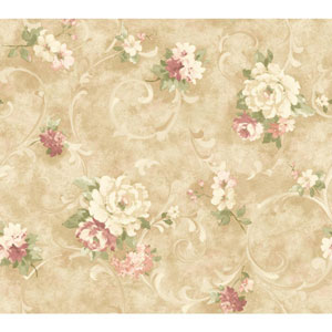Handpainted III Cream and Beige Painterly Scroll Wallpaper