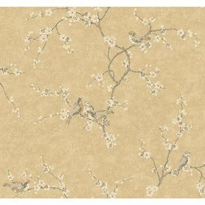 Handpainted III Light Gold Birds with Blossoms Wallpaper