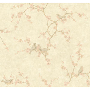 Handpainted III Pale Gold Birds with Blossoms Wallpaper