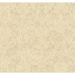 Handpainted III Pale Gold Floral Damask Wallpaper