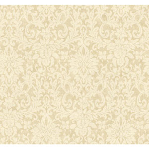 Handpainted III Ecru Floral Damask Wallpaper