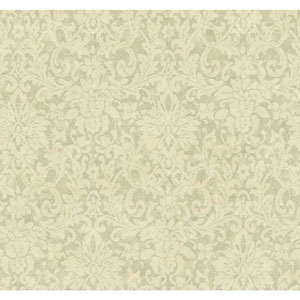 Handpainted III Aqua Floral Damask Wallpaper