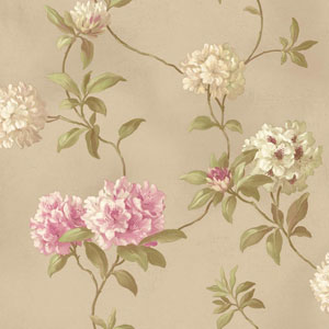 Handpainted III Soft Gold Rhodedendrum/Script Wallpaper