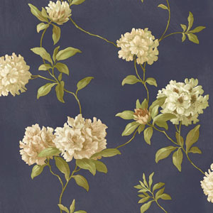 Handpainted III Navy Blue Rhodedendrum/Script Wallpaper
