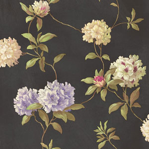 Handpainted III Black Rhodedendrum/Script Wallpaper