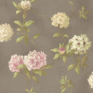 Handpainted III Silver Rhodedendrum/Script Wallpaper