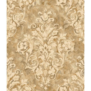Handpainted III Gold and Cream Painterly Damask Wallpaper