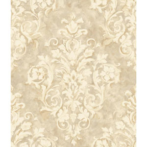 Handpainted III Cream and Taupe Painterly Damask Wallpaper