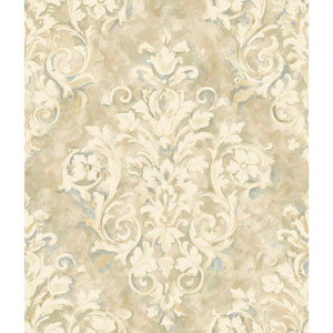 Handpainted III Cream and Beige Painterly Damask Wallpaper