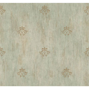 Handpainted III Grey and Aqua Classic Fleur De Lis Wallpaper